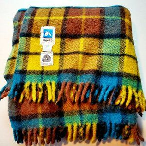 Vintage Ayers Pure Wool Canada Made Plaid Throw Blanket Fringe Cabin
